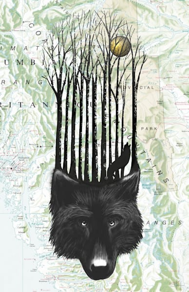 Wolf art on vintage map by Sassan Filsoof available as a fine art print on paper, canvas, or metal
