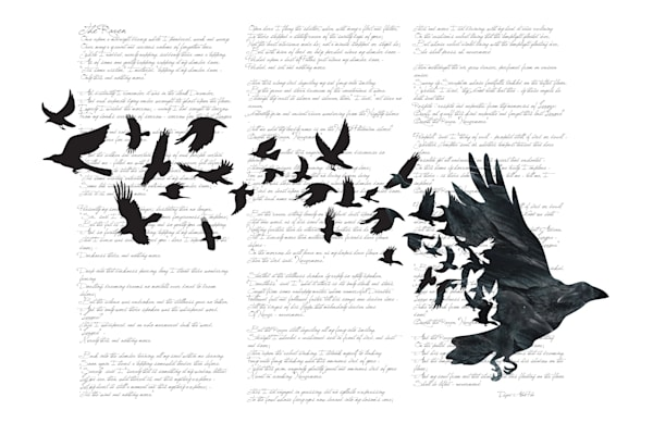 Edgar Alan Poe poem and Crow and Raven Illustration available for purchase as a fine art print on paper, canvas or metal