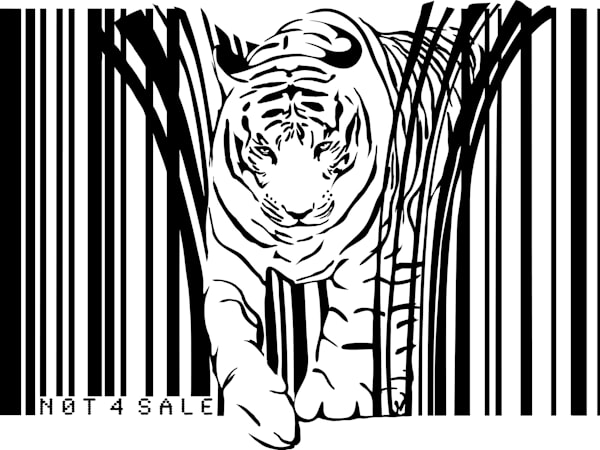 Tiger barcode graffiti style art by Sassan Filsoof, available as a fine art print.Click to order.