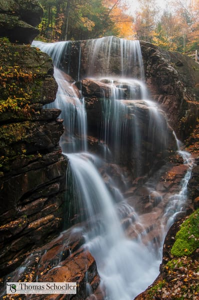 Avalanche falls | Franconia Notch State Park New Hampshire | peak autumn foliage season