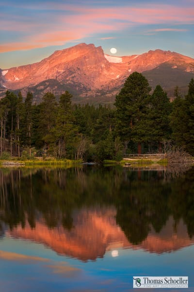 Sprague lake sunrise at R.M.N.P. Colorado/Cherry alpenglow on Halletts peak reflected in the smooth waters