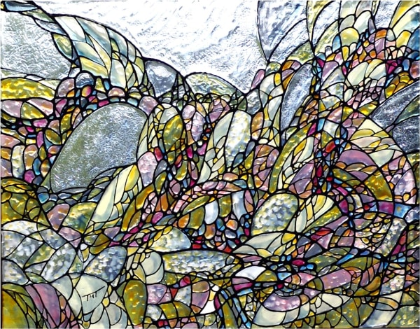 fractals, jewel tones in paintings, glass art