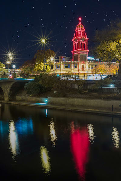 Plaza Lights Reflection In Brush Creek photograph for sale as art.