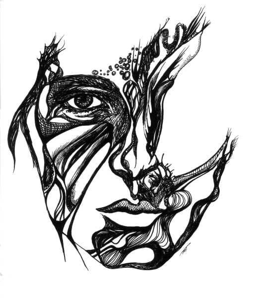Unique B&W Surrealistic Art - Facial Fancy