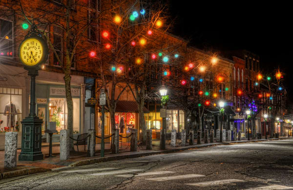Holiday Lights in downtown Bath, Maine at night