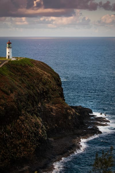 Kilauea Lighthouse, lighthouse, cliff, Kauai