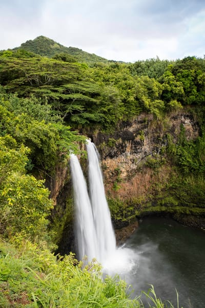 Wailua Falls, Kauai, double waterfall