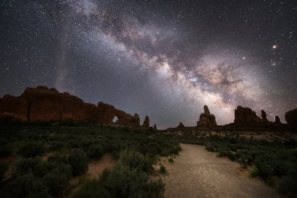 Windows Walk, Pathway to The Windows in Arches National Park under the Milky Way