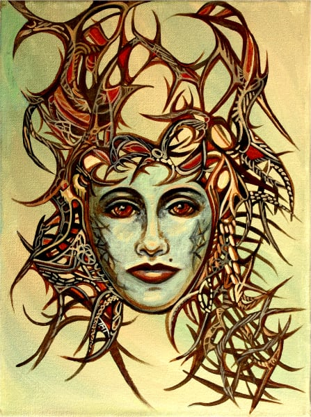 Acrylic Painting - Surrealistic Portrait - Queen of Thorns