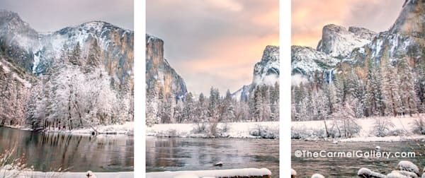 Winter Morning Valley View triptych