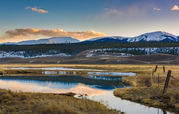 Colorado Photography of Ranch at Sunset - Mountain Range Reflecting on Pond