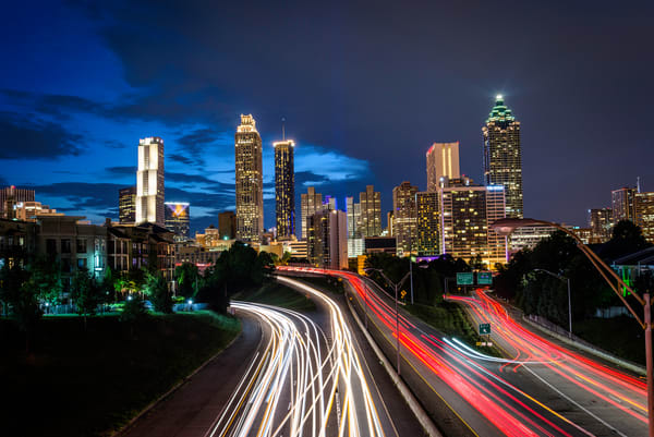 Atlanta Skyline at night | Susan J | Shop Prints