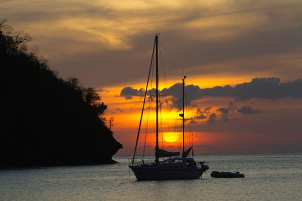 sunset with boat, St Lucia, Marigot Bay