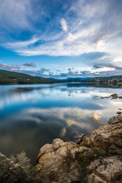 Long Exposure Photography Boulder Colorado Reservoir Cloud Reflections Upon Lake