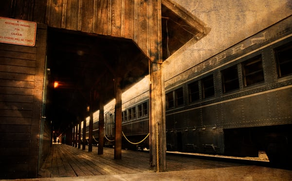 Beautiful Fine Art Paintings and Photographs by Vivian Lo – Picture of the Central Pacific Railroad Freight Depot in Old Sacramento. Originals and Prints for sale - VLo Photo