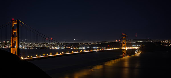 Beautiful Fine Art Paintings and Photographs by Vivian Lo – Picture of the Golden Gate Bridge at night. Originals and Prints for sale - VLo Photo