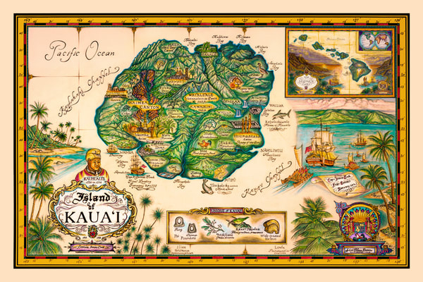 Historical Maps | Map of Kauai by Blaise Domino