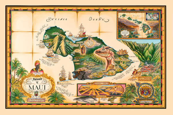 Historical Maps | Map of Maui by Blaise Domino