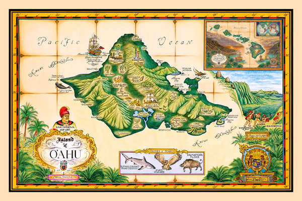 Historical Maps | Map of Oahu by Blaise Domino