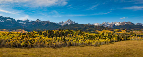 Panoramic Photo of Colorado's Mount Sneffels Range Fall Colors