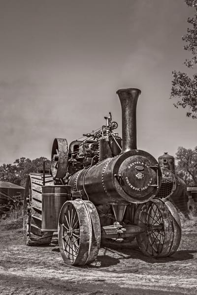 Reeves Steam Tractor Restored Vintage Power Black & White  fleblanc