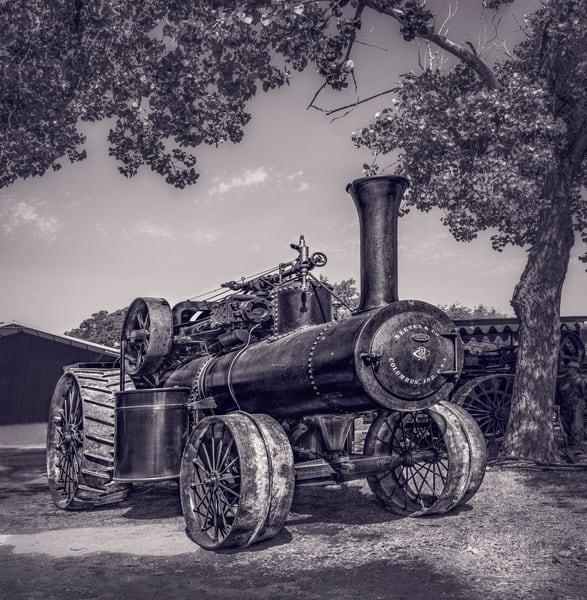 Reeves Steam Tractor Antique Farm Power Black & White fleblanc