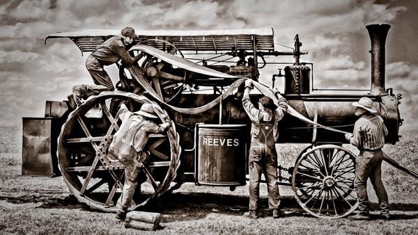 Reeves Steam Tractor Installing Belt Farm Ranch Old fleblanc