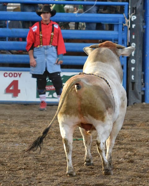 Photograph of a face off between a bull and bullfighter for sale as Fine Art