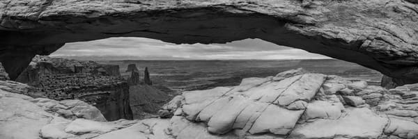 A New Day - Mesa Arch Canyonlands Panoramic Print Black and White