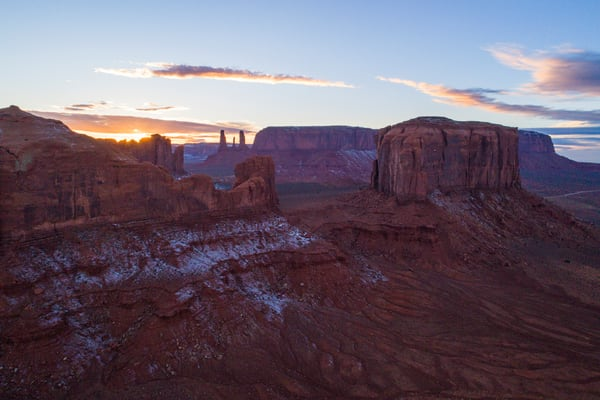 Three Sisters Sunset - Monument Valley Aerial photo