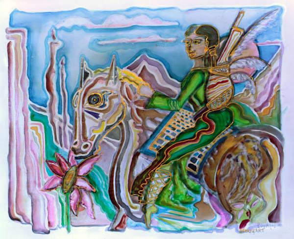 Green HorseBack Rider Print