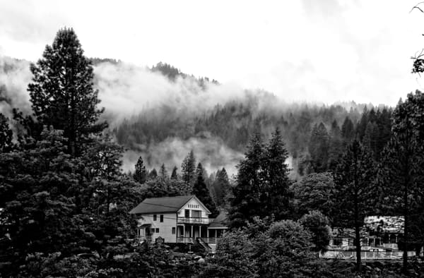 Beautiful Fine Art Paintings and Photographs by Vivian Lo – Picture of Downieville in black and white. Originals and Prints for sale - VLo Photo