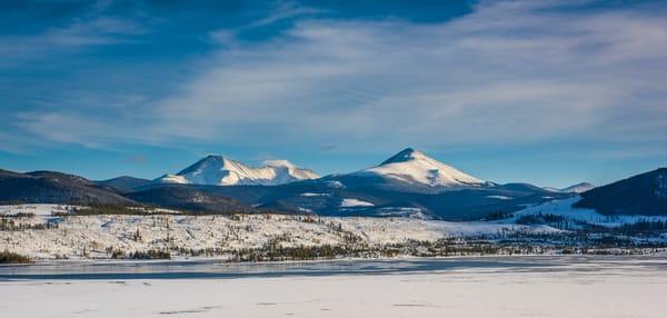 Colorado Photograph of Swan Mountain & Partially Frozen Lake Dillon Summit County