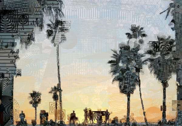 Palm Trees at Sunset art on Venice Beach in Los Angeles, California.  Beach art at it's best! Algorithmic Vector art by Peter McClard at BrillianceGallery.com