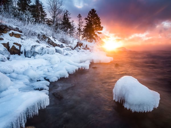 Frigid sunrise along Lake Superior
