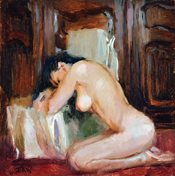 Miniature nude oil painting Kneeling