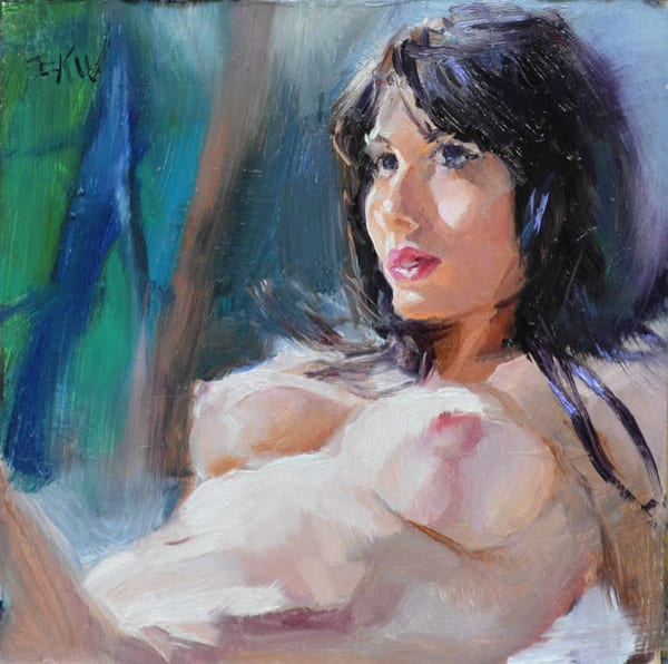 Miniature nude oil painting, Reclined 1, Eric Wallis