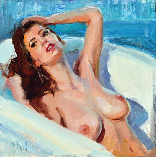 Miniature nude oil painting of a bather by Eric Wallis