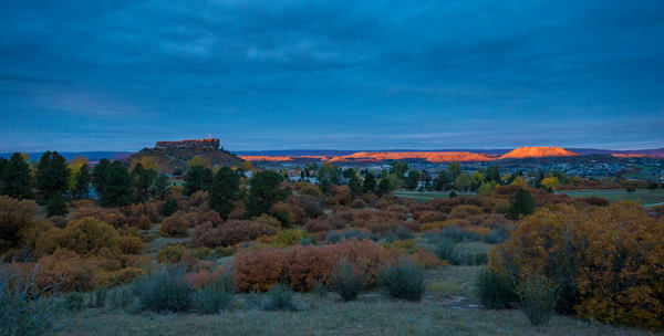 Flag on The Rock Illuminated at Dawn's First Light - Castle Rock Colorado Photo