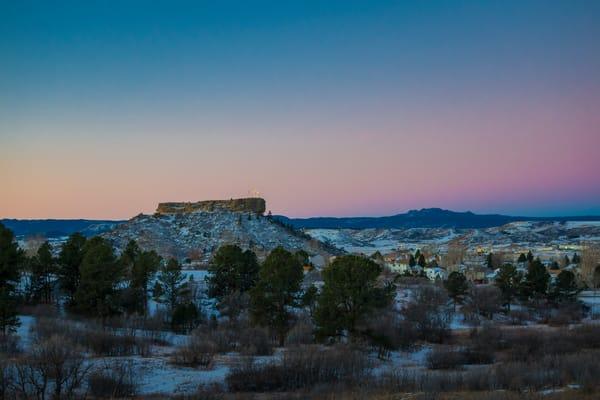 Beautiful Pre-Dawn Winter Photo of the Castle Rock Star