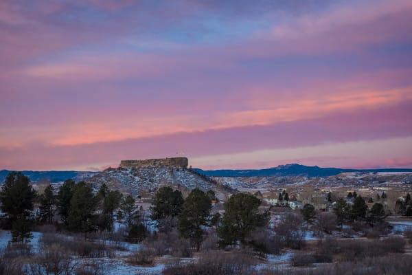 Beautiful Purple & Pink Sunrise Photo of Castle Rock Colorado
