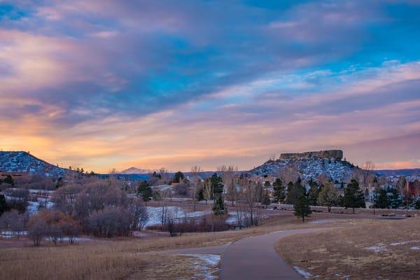 Beautiful Sunrise Photo of Castle Rock Colorado & Pikes Peak