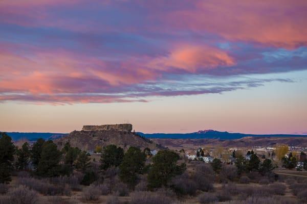 Photo of Castle Rock Colorado Purple & Pink Sunrise - Devils Head in Background
