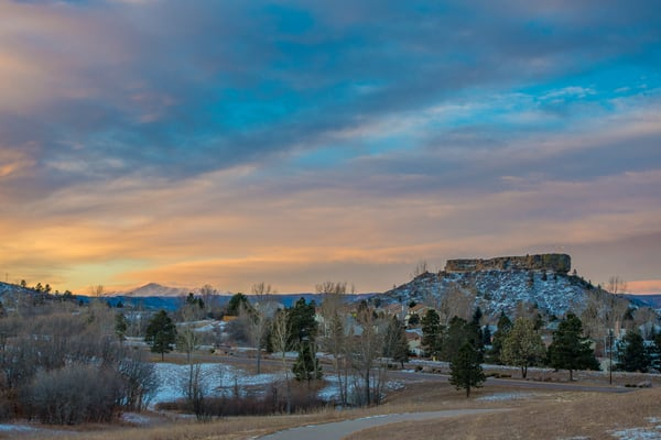 Sunrise Photo of The Rock with Pikes Peak - Castle Rock Colorado