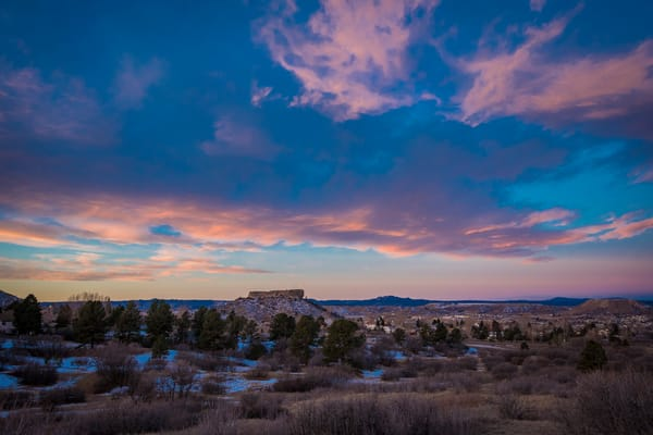 Winter Landscape Photo of Castle Rock Colorado at Dawn