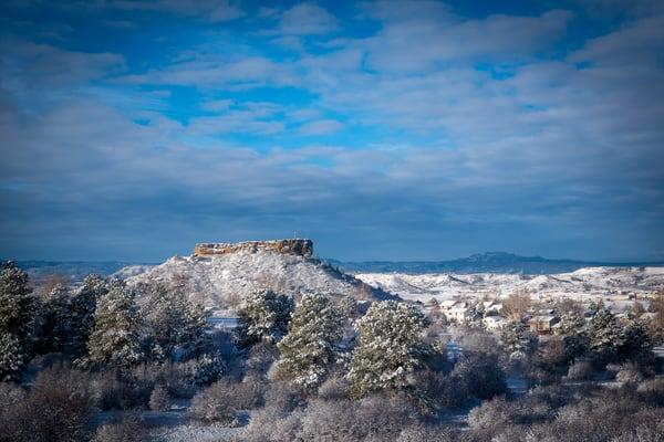 Sunrise Photograph of Castle Rock Colorado After Late Winter Snow