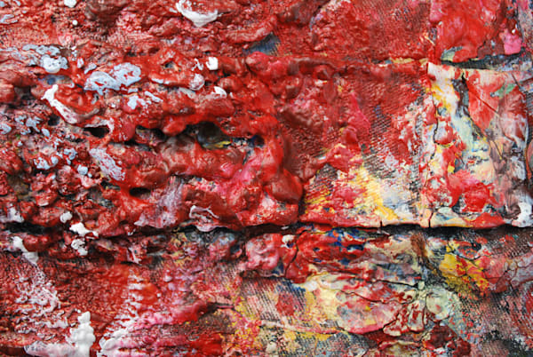 Iconic abstract close up images of the acrylic paint splattered and brushed on the overalls that I wear during the creative process of my bas-relief fusion art. Ever evolving they tell the story of my art.