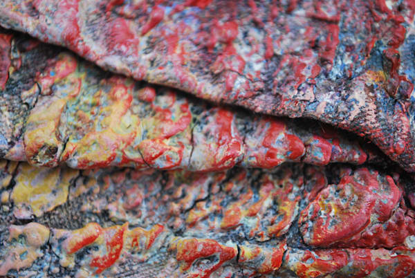 A detail shot of the acrylic paint that covers my artist's overalls