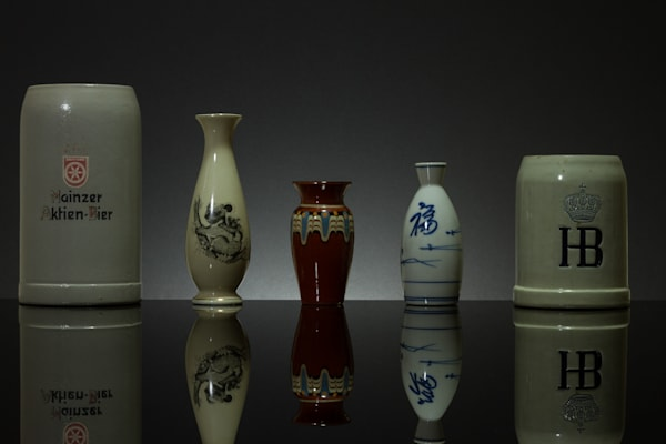 Reflections of Vases and Mugs on Black Plexi Fine Art Photographs by Michael Pucciarelli