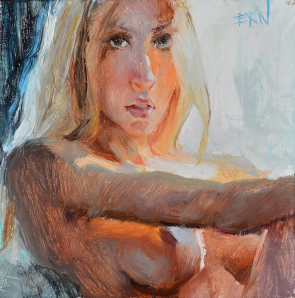 Nude, topless figure, original miniature oil painting by Eric Wallis